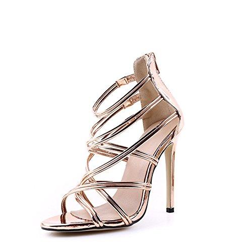 Verano oro albaricoque Zapatos aguja Primavera para el la PU y banquete abierto Confort mujer Do Tacón de Negro Sandalias de de Toe noche boda BrwBI