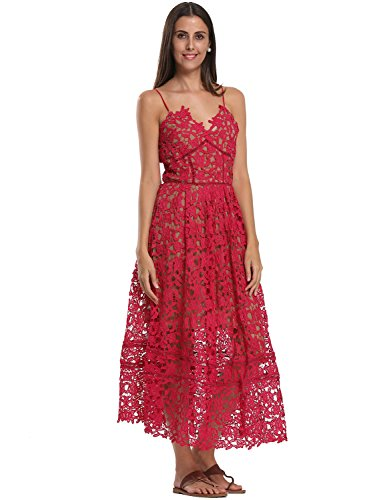 Choies Women's Red Floral Spaghetti Strap Backless Lace Crochet Cami Dress