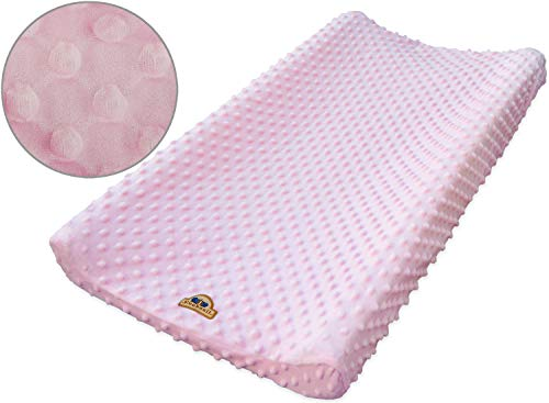 (BlueSnail Ultra Soft Minky Dot Changing Pad Cover (Pink,one Size))