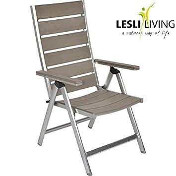 Gartenstühle hochlehner  Amazon.de: Hochlehner Bassano Polywood grau 7fach Aluminium ...