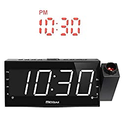 (Upgraded Version) Mesqool 7 Projection Alarm Clock for Travel, Bedrooms, Ceiling, Kitchen, Desk, Shelf, Wall - AM FM Radio,3 Dimmer, Dual Alarm, USB Charging Port, AC Powered & Battery Backup