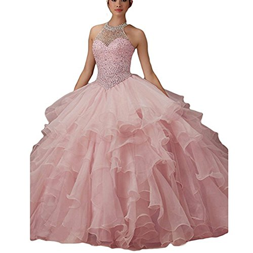 WHZZ Womens Ball Gown Ruffles Beaded Prom Gowns Halter Quinceanera Sweet 16 Dresses For Teens (Halter Quinceanera Gown)