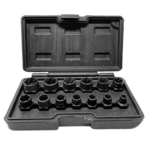 (Segomo Tools 13 Piece Lug Nut and Bolt Extractor Removal Metric and SAE Socket Tool Set 8-19mm)