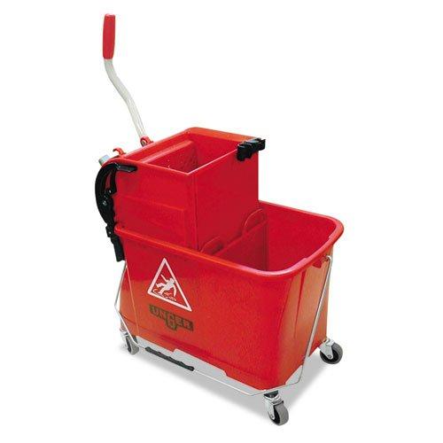 UNGCOMSR - Side-press Restroom Mop Bucket Combo, 4gal, Plastic, Red