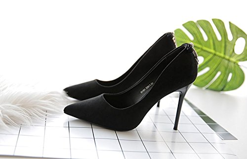 Single Spring Fine Water Heels Heel Sharp Shoes Women'S Lady Work High Head Leisure Grind 9Cm Drill Elegant 34 Shoes MDRW Black xnYqOI6P