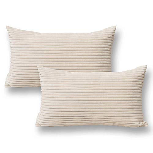 Jeanerlor 2 Pcs Corduroy 12x20 inch Throw Pillow Cover White Cushion Case from Home Decor for Toddler (Boy or Girl), 30 x 50 cm Ivory ()