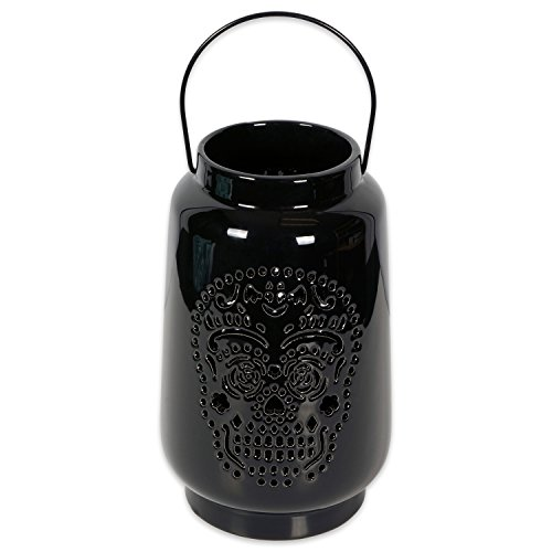 DII Halloween & Fall Dia De Los Muertos Decorative Tealight Ceramic LED Lantern Ideal for Indoor Home Decor, Outdoor Lighting, Farmhouse, Large, Black