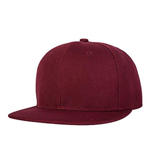 Hats Rojo Unisex Hats Hip Gorras Sombrero Hop Cap Vino Béisbol Baseball Clásico de Plano LINNUO Snapback Accesorios Oxng6agq