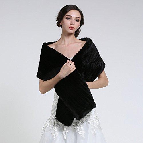 Aukmla Women's Faux Fur Shawls and Wraps Bridal Wedding Stole (Black) by Aukmla (Image #1)