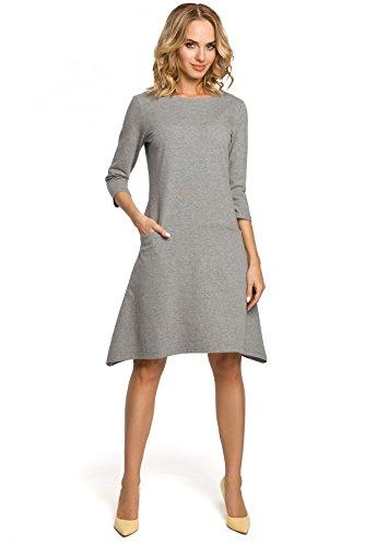 Nähten Clea und Grau Bund Taschen niedrigem in Kleid mit rBq06