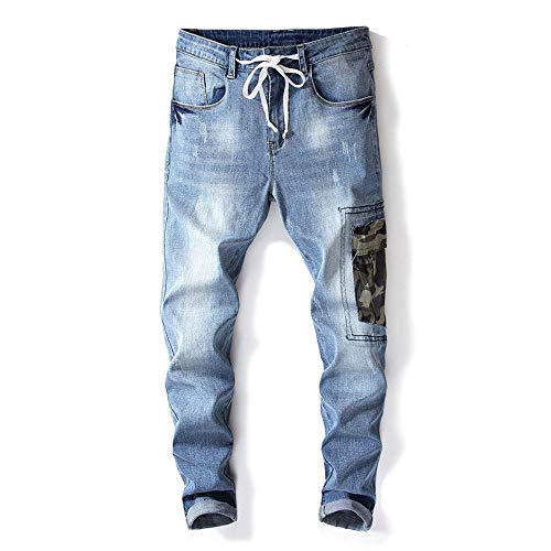 DeReneletrc Men's Jeans Cotton Hole Embroidered Slim Pants Stained Stretch Denim Trousers ()