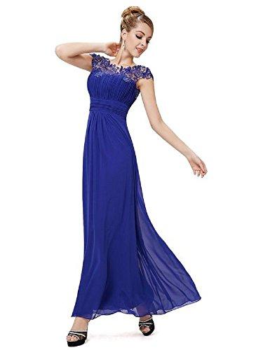 Senza Moda maniche Emily Beauty Donna Vestito Blue OqwaxC1
