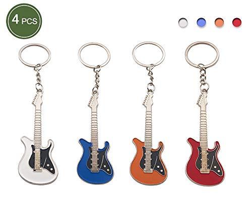 - 4PCS Guitar Model Keychain for Men Mini Cute Bass Key Chain for Handbag Car Keyring Electric Guitar Rock Band - Pack of 4