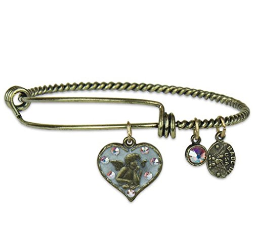 Anne Koplik Guardian Angel Charm Bangle Bracelet with Swarovski Crystals ()