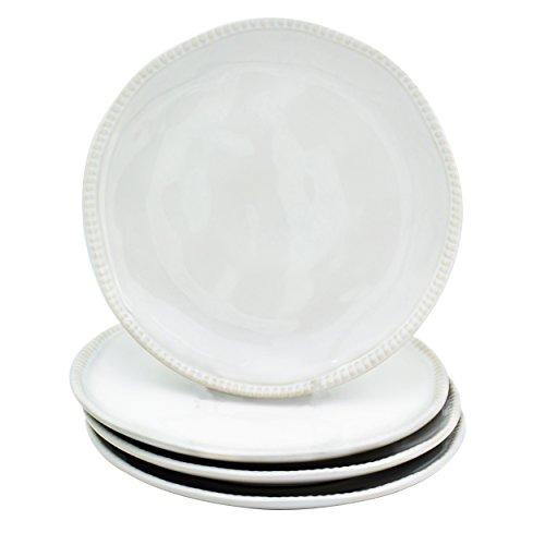 "Euro Ceramica Algarve Collection Artisan-Inspired 8"" Stoneware Salad/Dessert Plates, Set of 4, White"