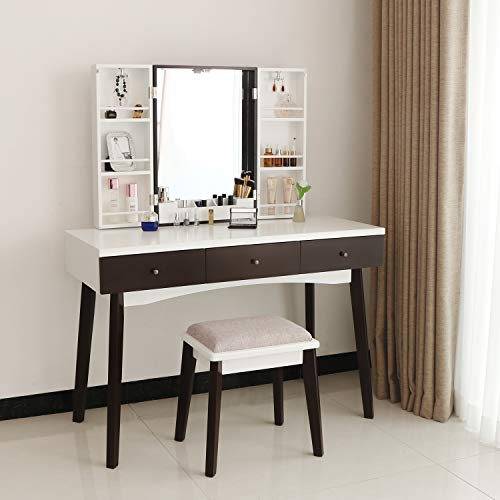 BEWISHOME Vanity Set with Mirror, Cushioned Stool, Storage Shelves, Makeup Organizer, 3 Drawers White Makeup Vanity Desk Dressing Table FST05W