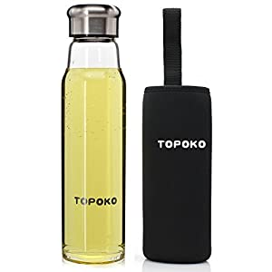 TOPOKO Handmade 18.5 Oz Glass Water Bottle-Extra Strong Crystal Glass Bottle And Handmade Colorful Handle Nylon Sleeve (Black)