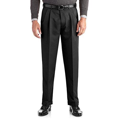 - George Men's Pleated Cuffed Microfiber Dress Pants With Adjustable Waistband (34x30, Black)