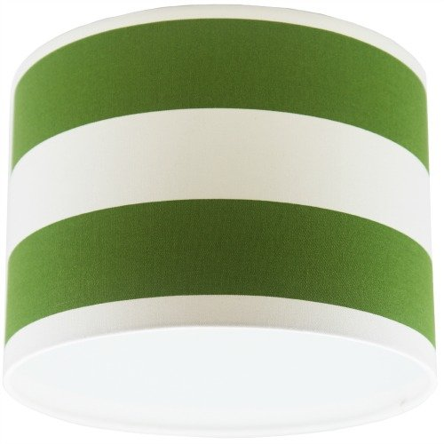 Green and White Stripey Drum Ceiling Light Shade