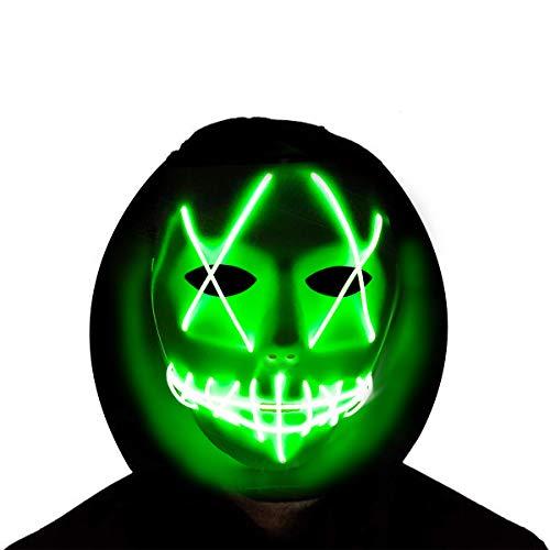 Jupitaz Halloween Mask Mens Costume Masks Cosplay LED Glow Scary Light up Masks (Green)