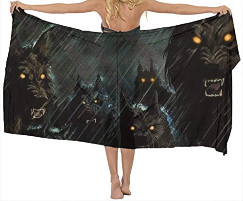 Chiffon Shawls - Dark Storm Rain Halloween Werewolf Hellho, Wedding New Year Party Swimsuit Fashion Scarves Soft Cozy Neck Wrap Long Winter Warm Cape Sunscreen Paisley Shawl