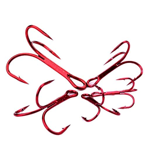 BeesClover Baitholder 50Pcs/Box Fishing Hooks Tackle 2#-10# Fishing Hooks High Qulity Treble Hooks Red 10 One Size