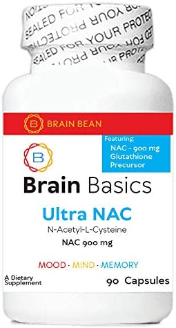 Brain Basics Ultra NAC Glutathione Precursor, Optimize Neurological and Liver Health and Immune Support 900mg N-Acetyl-L-Cysteine 90 Servings