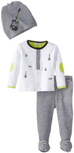 Petit Lem Baby-Boys Newborn Jazzy Baby 3 Pieces Set, Grey, 3 Months