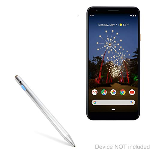 BoxWave Google Pixel 3a XL Stylus Pen, [AccuPoint Active Stylus] Electronic Stylus with Ultra Fine Tip for Google Pixel 3a XL - Metallic Silver