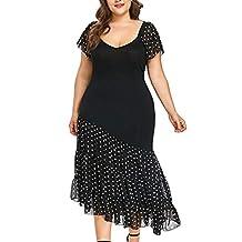 FengGa Vestido Suelto de Gasa para Mujer, de Moda, para Ocio, con Pecho bajo, Talla Grande, Cuello Redondo, Manga Corta, asimétrico