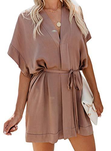 Elapsy Womens Summer Casual V Neck Batwing Sleeve Loose Kimono Boho Shift Dress for Juniors Apricot X-Large