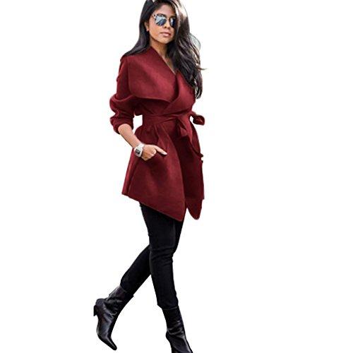 Abrigos Ropa Outcoat Invierno Rojo De Mujer sólido K youth® Originales Rompevientos Chaquetas Elegantes Fiesta Slim Color Bolsillos Suelto 5H6qxaw
