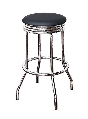 The Furniture Cove Bar Stool Retro/Nostalgic/Soda Fountain Style with a Chrome Finish and Swivel Seat 29