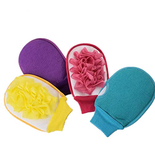 4 Pack Bath sponges for Women exfoliating Hammam Gloves Mitten Remove Dead Skin Bath Body Scrub Mitt,Bath Shower Sponge loofahs Pouf Bath Mesh Brush