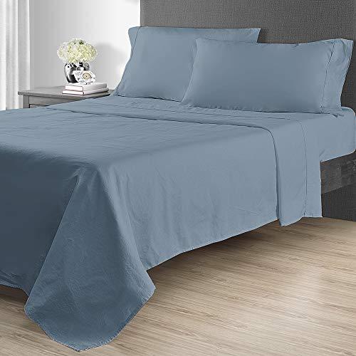 Sunham Home Fashions - Sunham Home Fashions 1400 TC Sheet Set King Blue