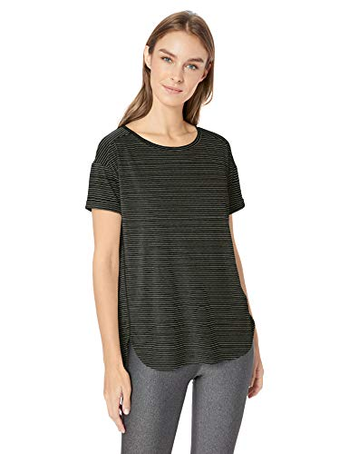 Basic Fit Tee - Amazon Essentials Women's Studio Relaxed-Fit Lightweight Crewneck T-Shirt, -black stripe, X-Large