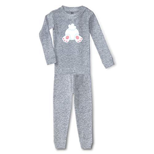 Easter Bunny Tail Cotton Crewneck Boys-Girls Infant Long Sleeve Sleepwear Pajama 2 Pcs Set Top and Pant - Oxford Gray, 3T