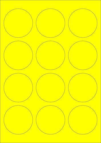 60 Etiketten Farbetiketten selbstklebend rund 60 mm GELB permanent klebend auf Bogen A4 (5 Bögen x 12 Etik.)