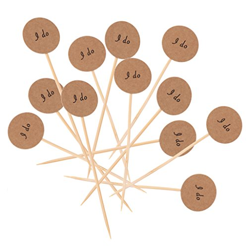 Dovewill Pieces of 50 Kraft Paper I Do Cake Topper Cupcake Picks Wedding Party Supplier