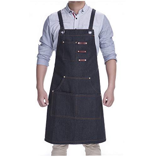 KSMYZX Durable Goods - Heavy Duty Multi-Pocket Black, Gray, Black Denim Multi-Purpose Apron, S-XXL Full-Size Cross Strap, Cafe, Restaurant, Barbecue, Workshop, Hairdresser, Woodwork, Safety Large Stor