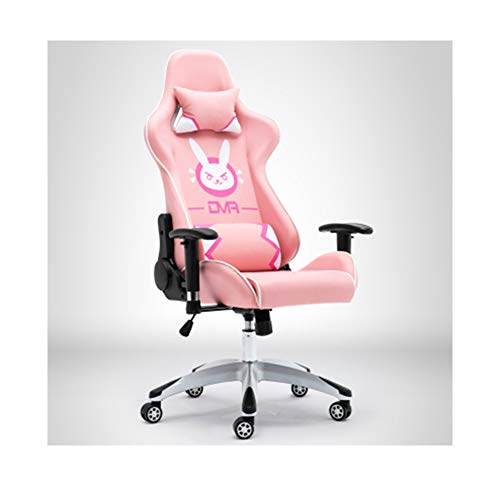 Silla de Oficina de Juegos, Silla de PU con Respaldo Alto de Estilo Racing, Silla giratoria ergonomica, con reposacabezas y Soporte Lumbar (Azul/Rosa/Negro)-Pink
