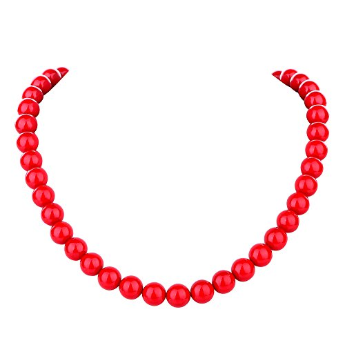(LUREME Fashion 10mm Red Shell Pearl Elastic Necklace for Women and Girls (nl006022))