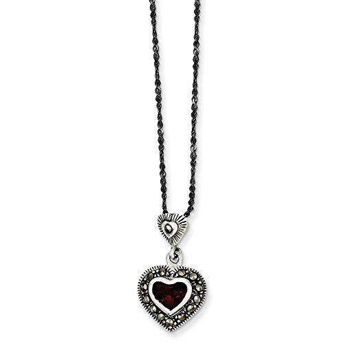 Jewelry Necklaces Necklace with Pendants Sterling Silver Marcasite w Red Crystal Pendant with 16 Chain