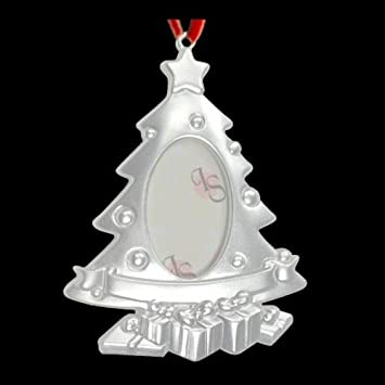 Amazoncom Silver Plated Christmas Tree Photo Frame Ornament Home