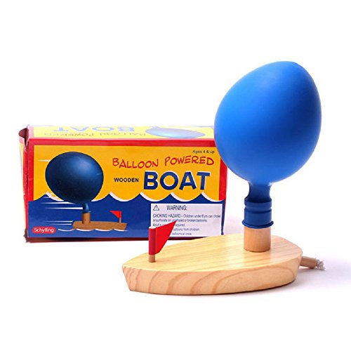1PCS Wooden Balloons Jet Boat Float Water Swimming Child's Play Mouth Educational for Children Baby Bath Toys (Ducky Elmos)
