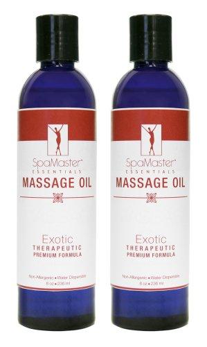 Master Massage Spamaster Essentials Exotic Massage oil, 8 oz Bottles, 2 Count - Moisturizing Oil Free Massage Oil