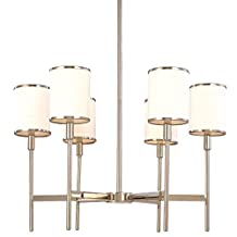 Hudson Valley Lighting Aberdeen 6-Light Chandelier - Polished Nickel Finish with Off White Faux Silk Shade