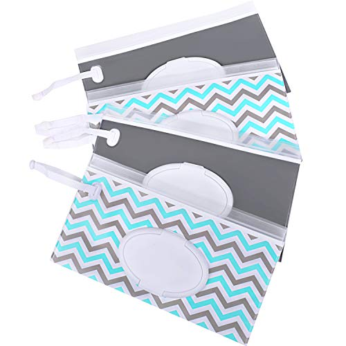 Venhoo Wet Wipe Pouch 4-Pack Reusable Refillable Clutch Baby Wipes Dispenser Holder Case-Keep Wet Wipes Moist- Eco Friendly Wipes Carrying Case for Travel-Pouch Carries 60 Wipes-Upgrade -