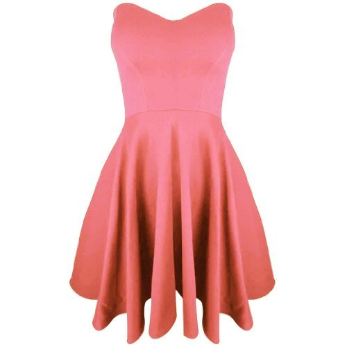 Be Jealous Damen Gepolstert Bandeau Plissiert Ausgestellt Party Enganliegend Skaterkleid Coral XL, UK 14