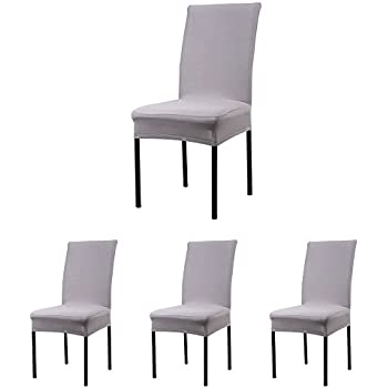 CosyVie Super Fit Universal Stretch Dining Chair Covers Removable Washable Slipcovers For Room Chairs 4 Pcs PackGray